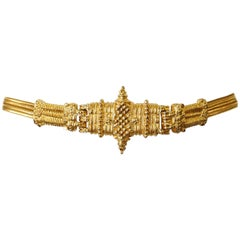1980s Judith Leiber  Tribal Gold Rope Chain Belt