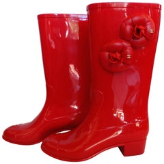 Chanel Red Camellia Flower Wellies