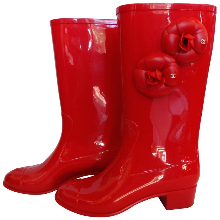 Chanel Red Camellia Flower Wellies  For Sale