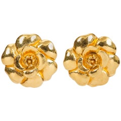 1970's Chanel Camellia Gold Clip Earrings