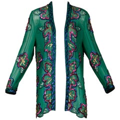 1980s Fabrice Vintage Green Sheer Silk Sequin + Beaded Jacket or Cardigan