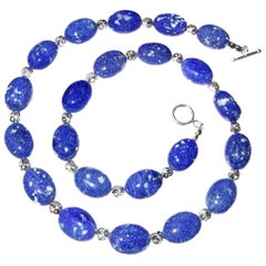 Medium Blue Lapis Lazuli Puffy Nugget Necklace