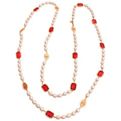 Chanel Red Gripoix and Faux Pearl Opera Necklace Gold CC Logo Medallions 1981