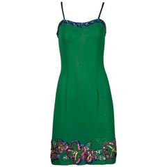 Fabrice Vintage Green Silk Metallic Sequin + Beaded Cocktail Dress