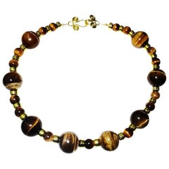 Necklace of Two Sizes of Chatoyant Tiger's Eye