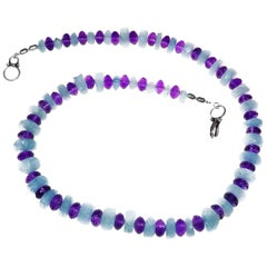 Graduated Aquamarine Rondels and Amethyst Necklace    March  Birthstone
