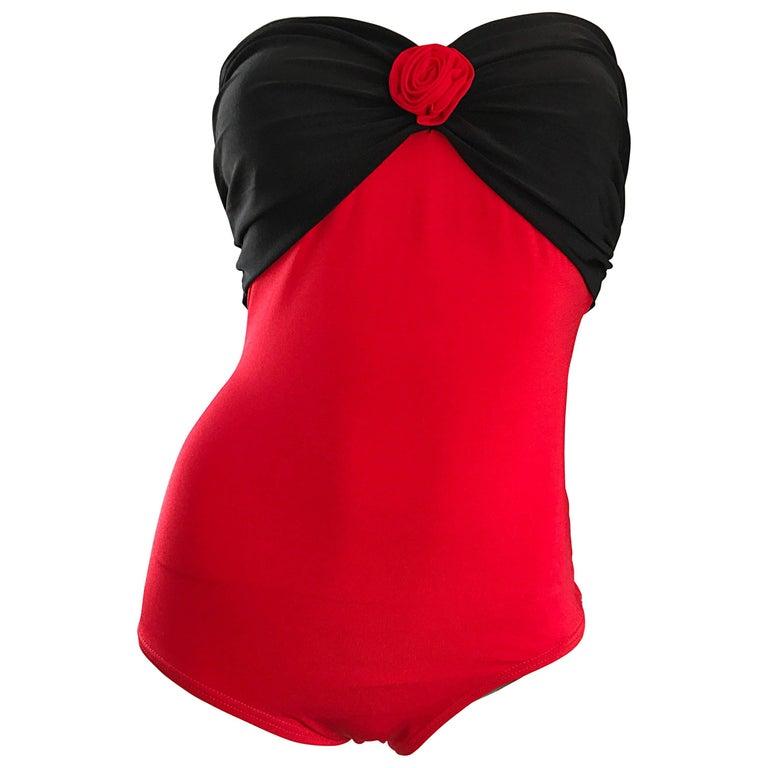 Vintage Yves Saint Laurent 1980s Heart Shape Red + Black 80s One Piece Swimsuit
