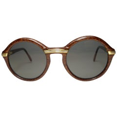 Vintage Cartier Cabriolet Round Brown 18K Gold Sunglasses France 1991's