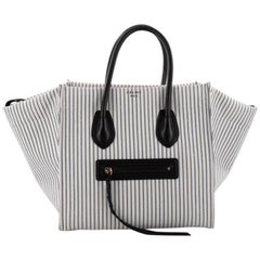Celine Phantom Handbag Striped Canvas and Leather Medium