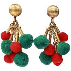 1960s Yves Saint Laurent gilded metal and tassels earrings