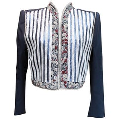 1980s Odicini Couture, evening jacket composed of satin over stitched with beads