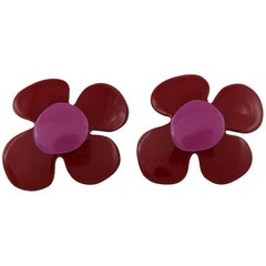 Yves Saint Laurent YSL Vintage Enamel Flower Clip-On Earrings