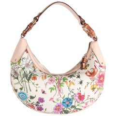 GUCCI Flora Canvas Half Moon HOBO w/ BAMBOO Rings
