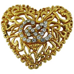 Christian Lacroix Vintage Jewelled Heart Brooch