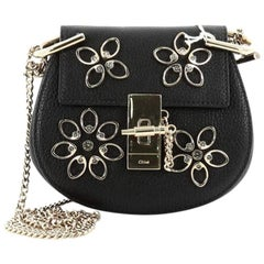 Chloe Drew Crossbody Bag Crystal Flower Embellished Leather Nano