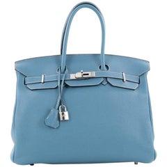 Hermes Birkin Handbag Blue Togo with Palladium Hardware 35