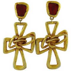 Christian Lacroix Vintage Massive Gold Toned Cross Dangling Earrings