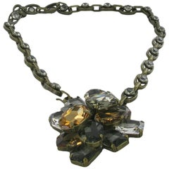 LANVIN Necklace in Aged Gilded Metal with a Pendant set with Swarovski