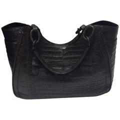 Nancy Gonzalez Brown Crocodile Shoulder Bag
