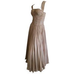 Carven Paris Haute Couture 1949 Pin Tuck Pleated Evening Dress