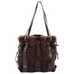 Nancy Gonzalez Drawstring Shoulder Bag Mink and Crocodile