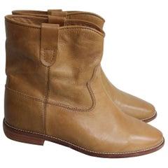 Isabel Marant Étoile Tan Leather Crisi ankle boots 41 uk 8