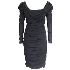 Dolce and Gabbana Black Sheer Rushed Dress It 40 uk 8