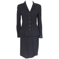 Chanel Black Classic Skirt Suit Jacket F38 uk 10