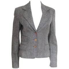 DOLCE & GABBANA Herringbone Tweed Grey Blazer Jacket It 42 Uk 10