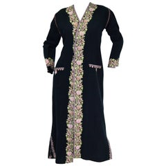 Vintage Kashmiri Crewel Embroidered Wool Coat