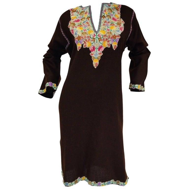 Vintage Kashmiri Crewel Floral Embroidered Wool Dress