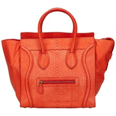 Celine Orange Python Mini Luggage Bag