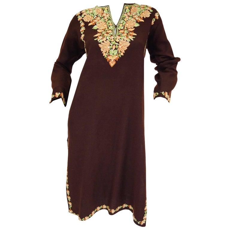 Vintage Kashmiri Crewel Embroidered Wool Dress