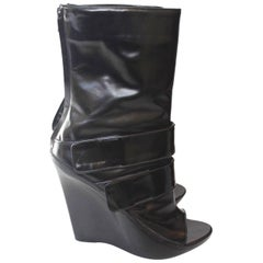 Givenchy Black Patent Leather Wedge Midi Boots 40.5 uk 7.5