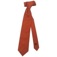 """Men's Handsome Hermes Heavy Silk Classic Stripe Neck Tie in Verte Orange, 58""""L"""
