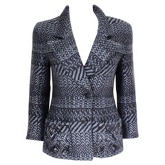 Authentic Chanel Blue Chevron Wool Sequin Jacket F 38 uk 10