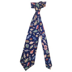 "Men's ""Gone Fishing"" Gucci Neck tie in Silk Vintage 1990's, Length 58 Inches"