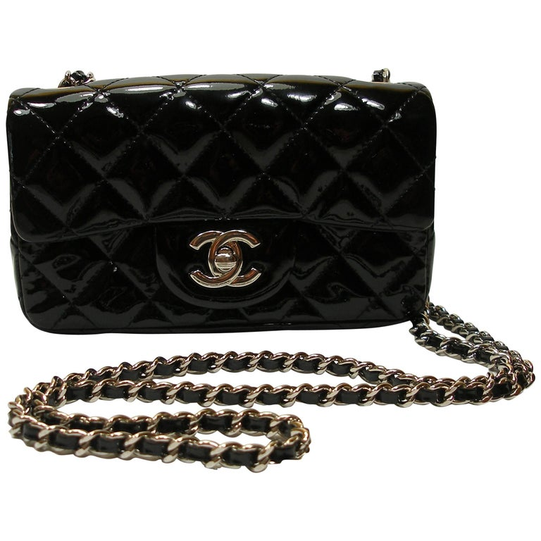4f2ac367d2f4 ICONIC Mini Timeless Chanel Patent Leather Silver Hardware   Good Condition  at 1stdibs