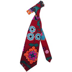 Men's Fabulous  Flower Power Oscar de la Renta 1980's Neck Tie