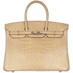 Hermes Poussiere Crocodile 35cm Birkin Bag NEW