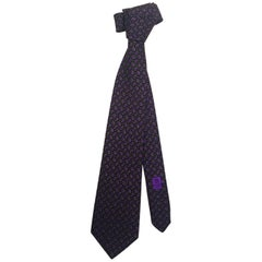 "Men's Classic Chanel Neck Tie with Geometric Gem Pattern in Purple & Green, 57""L"