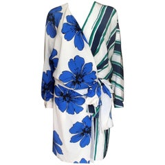 New Chloe Resort 2015 White Striped Floral Dress F 42 uk 12-14