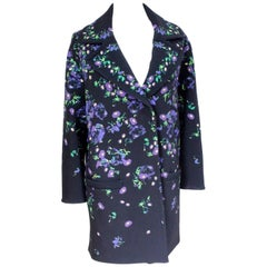 Erdem Black Floral Oversized Coat Uk 8