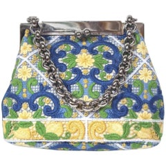 New Dolce & Gabbana White Floral Embroidered Coin Purse Chain Bag