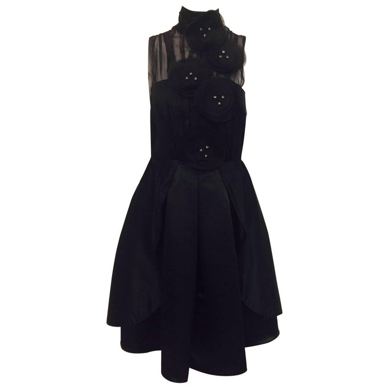 Exceptional Emporio Armani Black Silk Satin and Organza Cocktail Dress