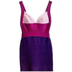 Herve Leger Purple Bandage Dress Sz S