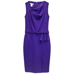 Oscar De La Renta Purple Ruched Sheath Dress Sz 4