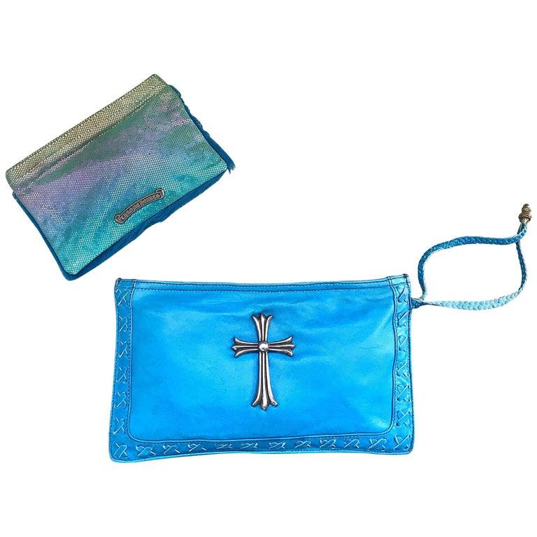 1990s Chrome Hearts Rare Turquoise 90s Leather Wristlet + Pouchette Clutch Bag