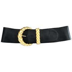 Chic 1990s Anne Klein for Calderon Black and Gold Vintage 90s Classic Wide Belt