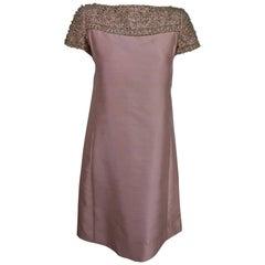 Vintage Malcolm Starr beaded pink silk princess seam cocktail dress 1960s